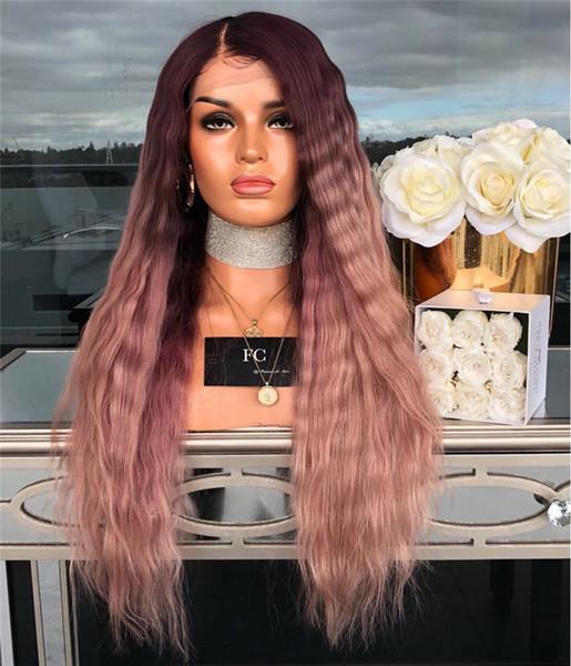 26 Pouces Rose Noir + Ombre couleur synthétique perruque couleur de mélange en vrac vague Perruques Perruques Simulation onduleux naturel perruques de cheveux humains WIG-85