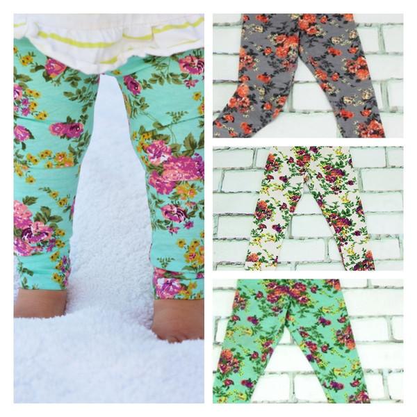 ins baby pant ragazze leggings fiori carino elastico in vita causale pantaloni a figura intera leggings lunghi pantaloni stretti vestiti per bambini LJJK1854