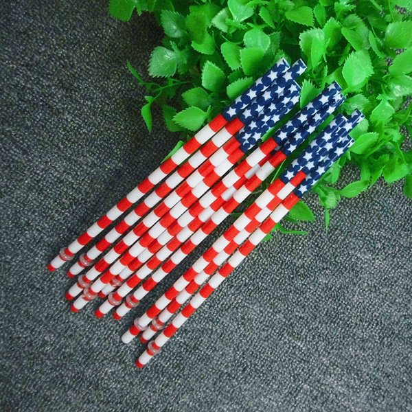 100 pcs/lot 23 cm Reusable Hard Plastic Straws Star Stripe American Flag Print Drinking Straws Bar For Holiday And Party