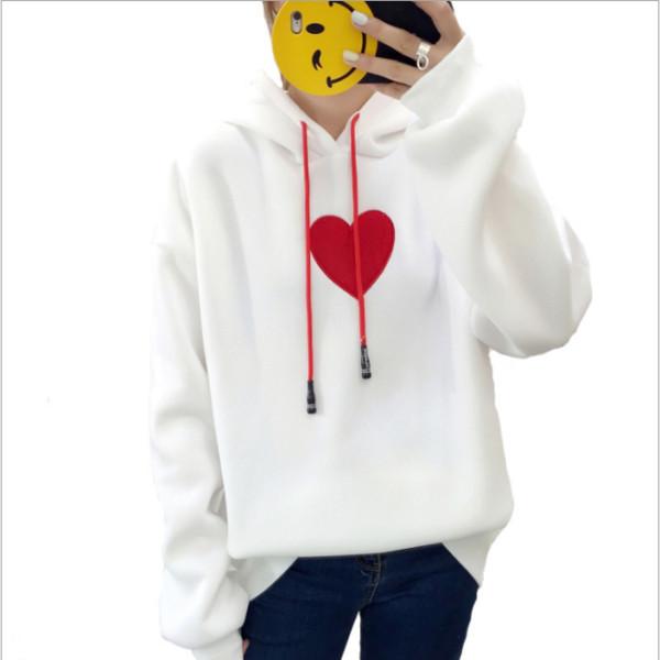 Balmumu Işlemeli aşk baskı üst gevşek kapüşonlu rahat çift Tişörtü Kulak Gevşek polar baskı kedi desen hoodies