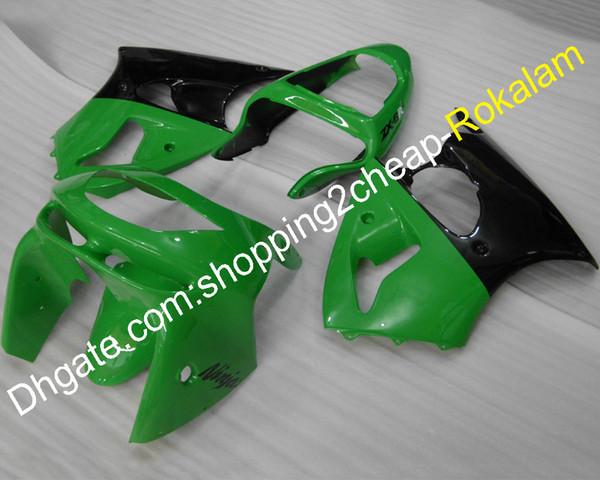 Juego de carenado negro verde para piezas Kawasaki ZX6R ZX-6R Ninja 98 99 Carrocerías ZX 6R 636 1998 1999 ZX-636 Accesorios de moto deportiva