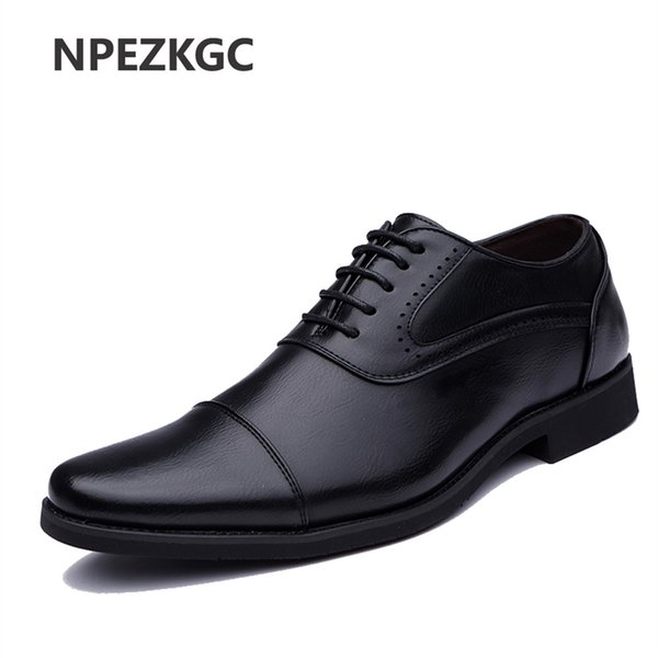 2018 Men Dress Shoes Simple Style Quality Men Oxford Shoes Lace-up Brand Formal Leather Wedding #56300
