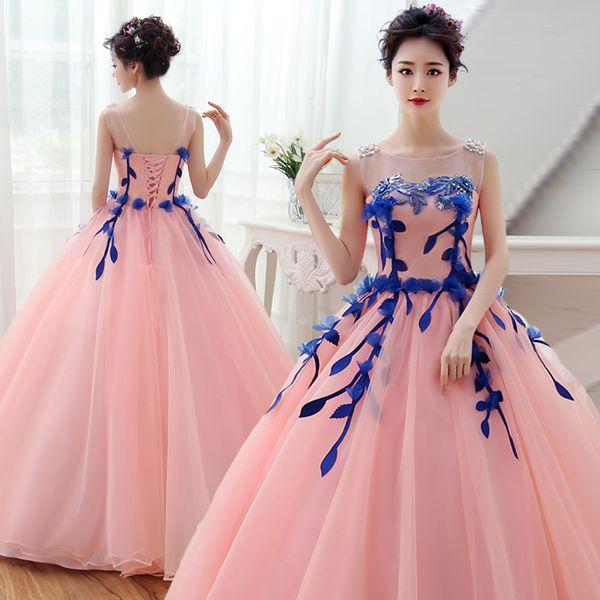 100% echte rosa / gelbe Rebe Perlen Prinzessin langes Kleid mittelalterliches Kleid Renaissance Kleid Sissi Prinzessin Victorian / Marie Belle Ball