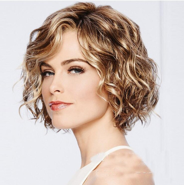 Women Short Curly Wigs European Popular Brown Kinky Loose Curly Hair Ladies Body Wave Mess Hair Heat Resistant Fashion Wigs Full Lace Synthetic Wigs