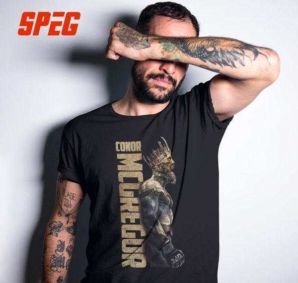 Speg The King Of Conor Mcgregor Mma T Notorious camisa dos homens de manga curta Tops 100% Cortton Tee O pescoço roupas masculinas Vintage T-shirt Y19060601