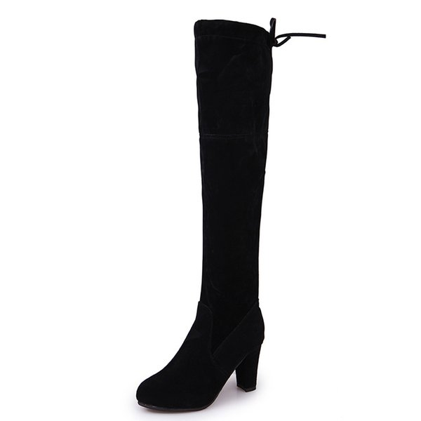 2019 New Flock Leather Women Over The Knee Boots Lace Up Sexy High Heels Autumn Woman Shoes Winter Women Boots Size 37-43