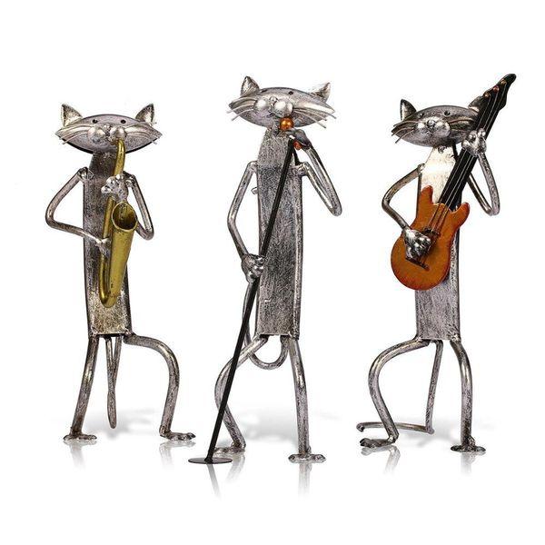 Estatueta de Metal Pop A Tocando Guitarra Saxofone Cantando Gato Estatueta Mobiliário Artigos de Artesanato Presente para Decoração de Casa