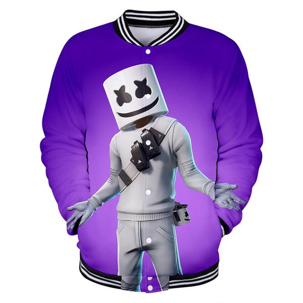 Kpop Marshmello 3D DJ Friends Hoodies Hooded Sweat Women Men Kawaii Sweatshirts Streetwear Harajuku Snow White Baseball Jacket