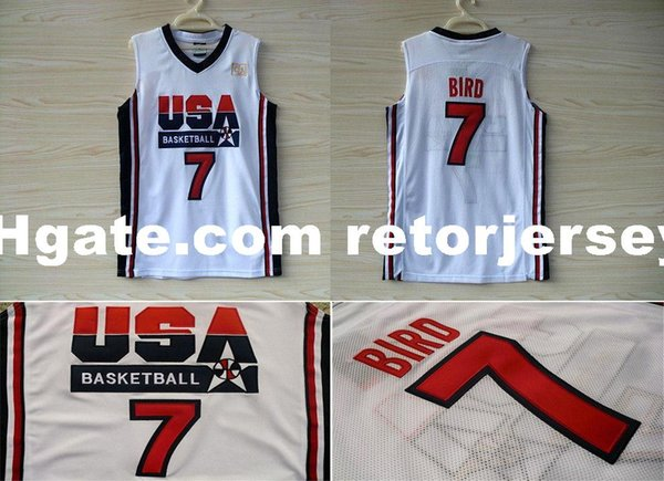 Larry Bird Maillot Sur Mesure Basketball Olympique Rêve USA 1992 - Blanc XS-6XL