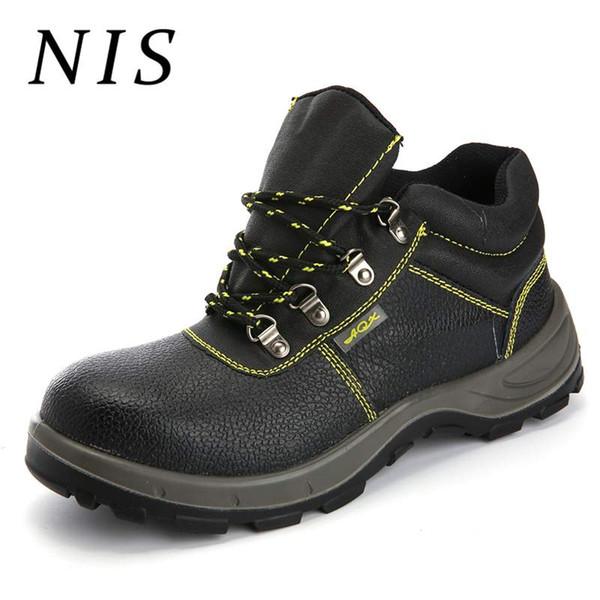 Compre NIS Hombres Zapatos De Seguridad Soldadura Botas De Trabajo Cuero De PU Cuero Dedo Del Pie De Los Hombres Senderismo Caza Botines Atrego Anti