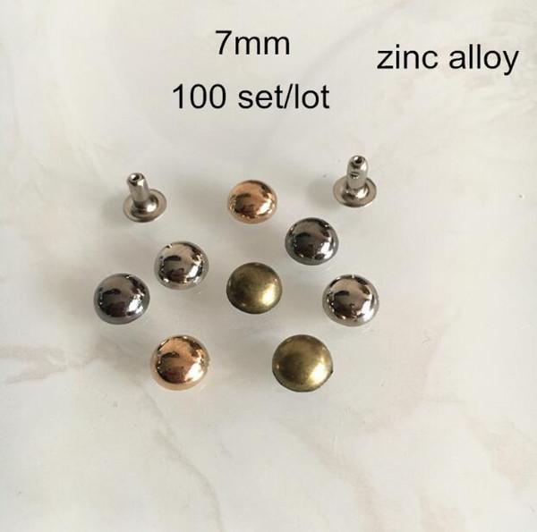 7mm Mushroom Rivet Studs,Zinc Alloy Dome Spike Stud Rivets For Leather Crafts,Gold,Silver,Bronze,Black Gunmetal -100 Set