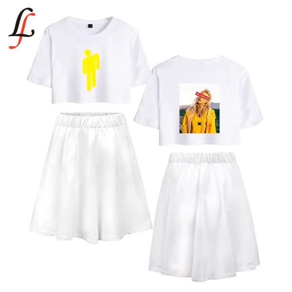 Billie Eilish Billieeilish Harajuku Kpop Modis Sexy Set kurzer Rock-Anzug Kurzarm T-Shirt und Rock Stück Mädchen Sommer
