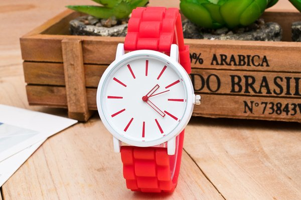 South Korea fashion personality fashion Geneva women's watch silicone candy color chocolate watchband students leisure sports watch
