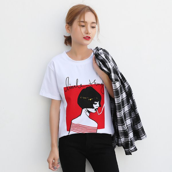 White Female T-shirts 2019 New T Shirts Summer Novelty Tee T Shirt Short Sleeve Print Women Casual Cotton O-neck Tops Lades Tees Y190518