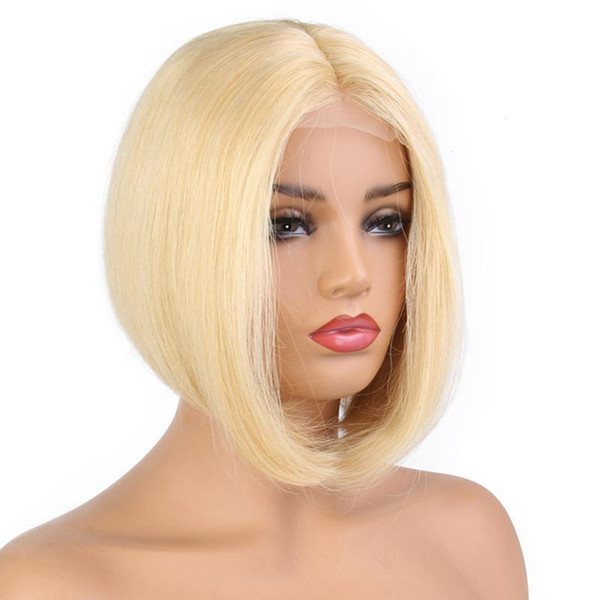 Supplier in stock 100% unprocessed remy virgin human hair short bob #613 natural straight full lace cap wig for women