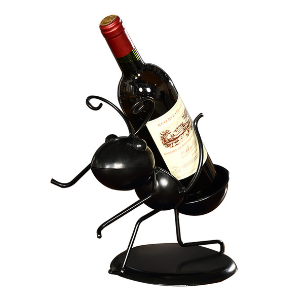 funny metal worker ant figurine wine bottle holder ornamental iron art insect wine rack craftworks home decor bar accessories
