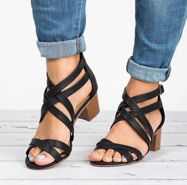 Sandales à lanières croisées pour femmes de grande taille, de grande taille, sexy avec des sandales Sandales à talons hauts mignonnes et confortables