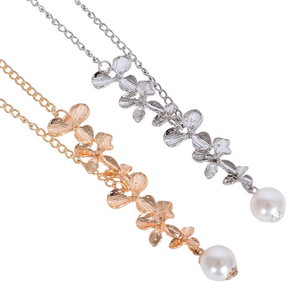 15pcs Fashion Pendant Chain Temperament Elegant Women Small Orchid Pearl Shaped Short Necklace Gold Silver Body Jewelry
