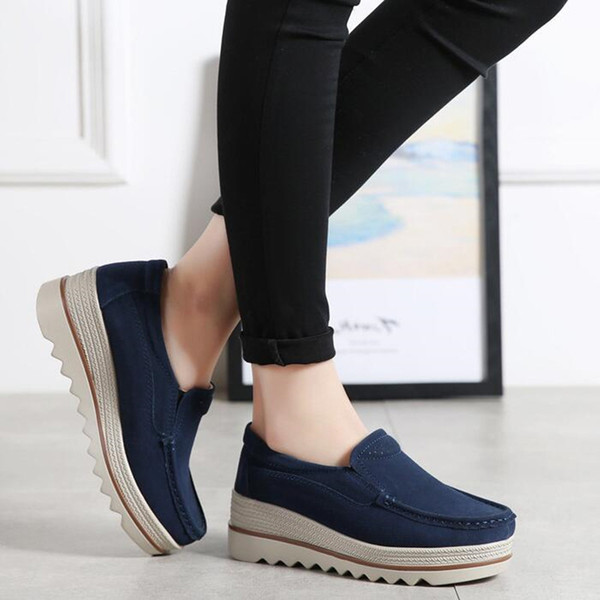 Women Thick-soled Shoes Platform Sneakers Spring Leather Suede Casual Shoes Female Slip On Flats Heels Tassel Creepers Moccasins Cut-outs 42