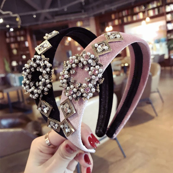 Bohemian Velvet Hairband With Metal Pearl Beads Handmade Headband customized Hair Accessories Gift