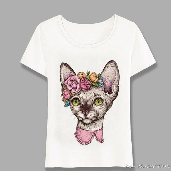 New Women Short Sleeve Cute Sphynx Cat Head With Flowers Tattoo T-Shirt Funny Kitte Design Casual Tops Cute Girl Tees Harajuku