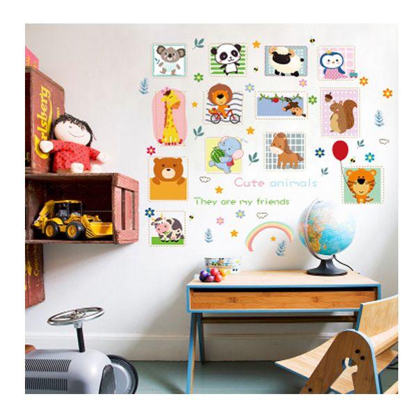Cartoon Animal Car Early Teaching Wall Stickers Children\'S Bedroom  Background Wall Kindergarten Classroom Layout Flat Waterproof Wall Sticke  Removable ...