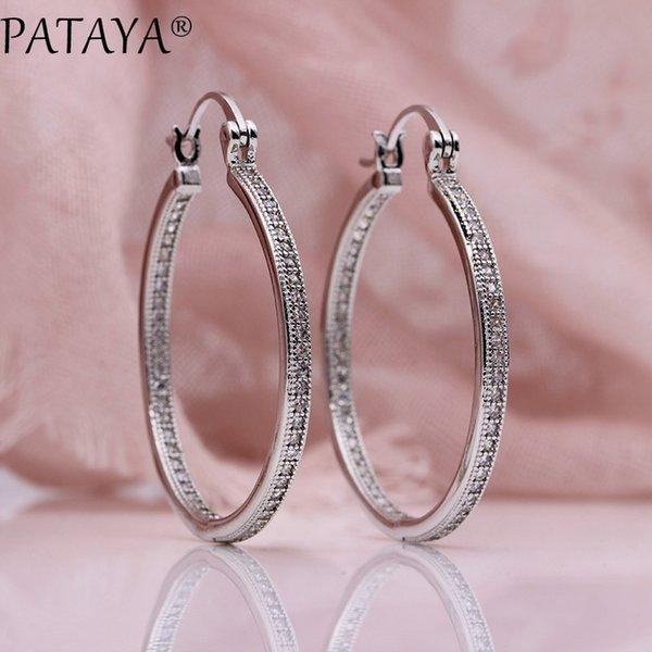 pataya new micro wax inlay luxury big circle long hollow earrings women wedding noble white gold natural zircon fashion jewelry