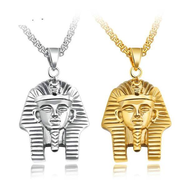 Egipto egipcio faraón collar colgante para hombres mujeres acero inoxidable vintge joyería gótica regalos