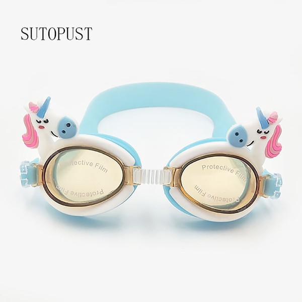 Lunettes de natation réglables enfants enfants Cartoon Mignonnes lunettes de sports nautiques Imperméable Anti-Brouillard UV Doux silicone accès à la natation