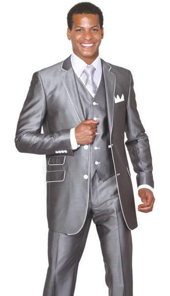 Trois pièces Silver Grey Evening Party hommes costumes Notch revers trim Fit Fit sur mesure mariage smokings (veste + pantalon + gilet + cravate) W: 137
