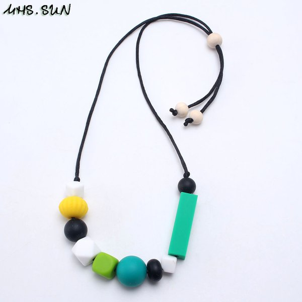 wholesale Mommy Baby Silicone Beads Teething Necklace Chewing Nursing Geometric Beads Necklace Can Slide Safe Jewelry For Gift