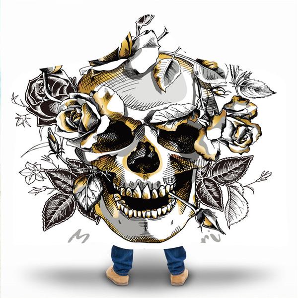 Felpa con cappuccio Coperta Skull Couverture Polaire Adulte Colcha De Cama Casal Coperta Coperta Couverture De Lit Fleece Drop Shipping