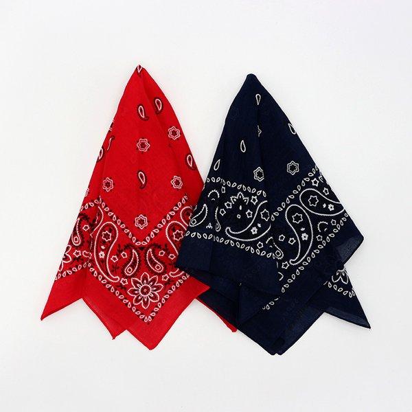 Red Navy Paisley Baumwolle Bandana Hiphop Männer Stirnband Einstecktuch Schals Frauen Taschentuch Headwear