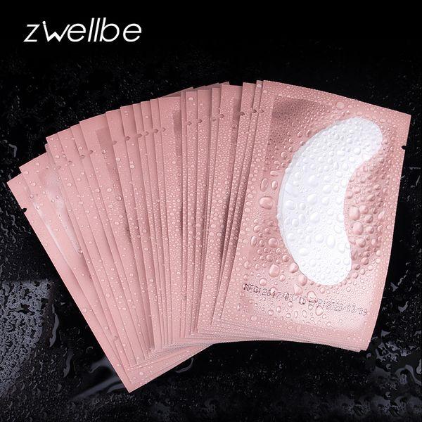 50 pares / paquete Rosa mujeres debajo de almohadillas para ojos parches extensión de pestañas pestañas adhesivas de papel parches aplicación herramientas de maquillaje