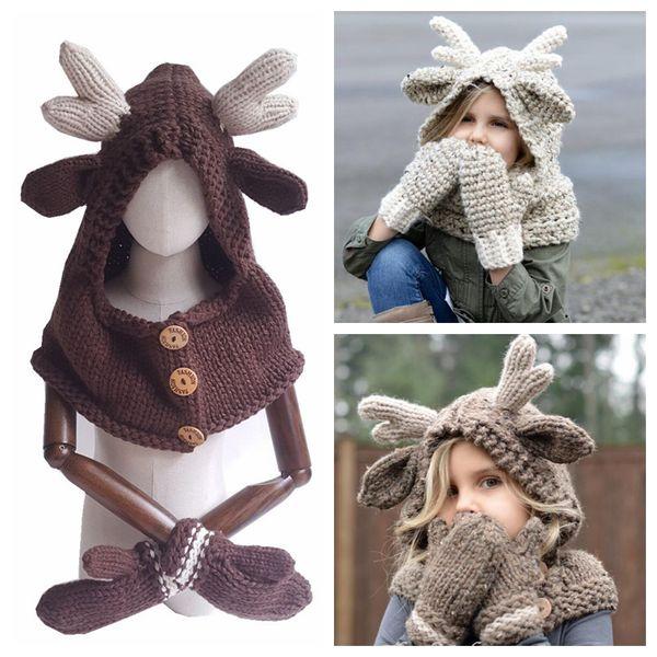 Elch Mit Kapuze Mütze Schal Handschuhe 3 in 1 Baby Warme Strickmützen Weihnachtsgeschenk Kinder Hut Handschuh Set Crocket Hut OOA5988