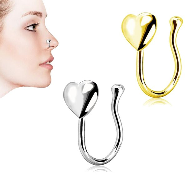Fashion Gold Silver Mental Fake Septum Rings for Women Heart Shape Ear Nose Body Clip Hoop Fake Nose Ring Faux Piercing Body Jewelry