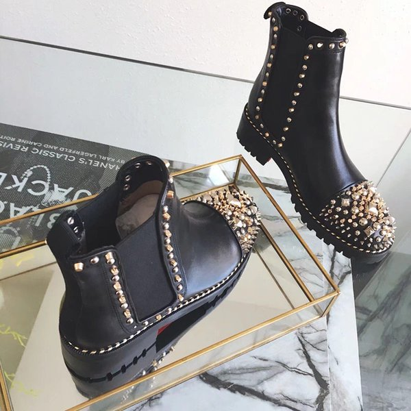 New Arrival Brand Women Boots Girls Designer Luxury Red Bottom Shoes Studded Spikes Party Footwear Autumn Winter High Top Women Casual Shoe