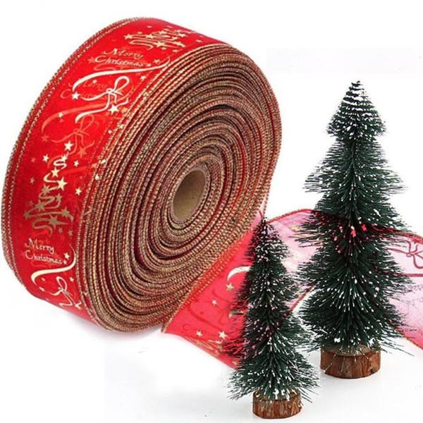 Alta qualità Natale Nastro Decorazione appesa Decorazione Ornamenti fai da te Decorazione natalizia Stella rossa Buon Natale Confezione regalo