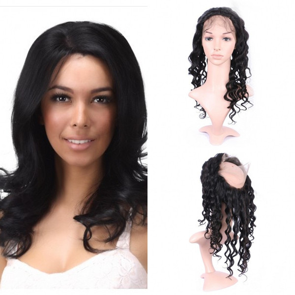 Best Peruvian Hair 360 Lace Frontal With Baby Hair Loose Wave Virgin Human Hair Free Part Natural Black No Shedding