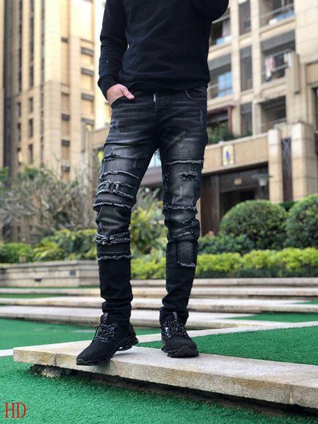 Lochfarbe Punkte Baumwolle 100% Hosen Stickerei Distressed Zerrissene Slim Fit Motorrad Biker Denim Für Männer Designer Hip Hop Jeans