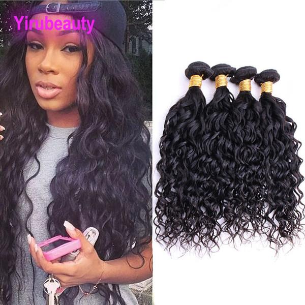 Capelli vergini brasiliani 4 fasci di capelli Wave Wave Wet And Wavy colore naturale 8-28 pollici Double Hair Wefts