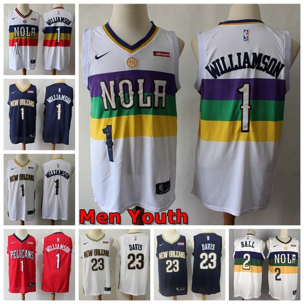 2019 2020 Mens Kids New Orleanspelicans 1 Zion Williamson Finished Swingman Basketball Jersey 23 Anthony Davis Nikepelicans Jersey From Xmas Gift