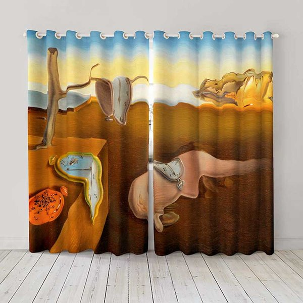 Personality Custom curtain world famous painting The Persistence of Memory drapes Extra wide Blackout curtain party decoration background