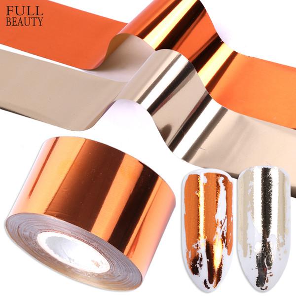 wholesale 1 Roll Metal Nail Transfer Foil Matte Gold Silver Nail Art Polish Sticker Decals DIY Universe Decorations CH996-2