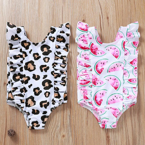 top popular Baby Girls Swimwear Printed Toddler Swimsuit Ruffles Infant Swim Suit Children Bathing Suit Swimming Clothes Leopard Watermelon 2 Style 5087 2021