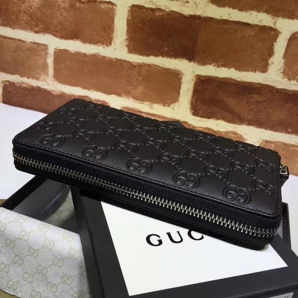 Neue Top-Qualität Luxus Promi-Design Beschriften Band Embossing Zipper Wallet Rindleder schwarz Mann Frau 307987 Lange Tasche Clutch