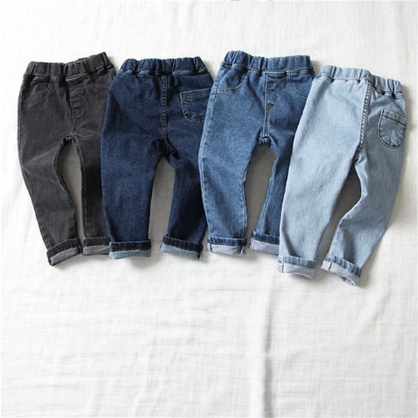 Spring INS New Summer Kids Boys Girls Denim Trousers Tatting Cotton Fabric 3 Colors Blank Back Pockets Vintage Elastic Waist Children Pants