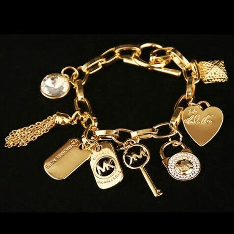Brand key love heart bracelets gem silver or gold plated pendants Charm Bracelets Bangle stainless jewelry Accessories AAA2027