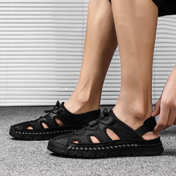 Été En Cuir Véritable Hommes Sandales 2019 Nouveau Mâle Antidérapant Casual Chaussures Respirant Gladiator Confortable En Caoutchouc Designer Chaussures