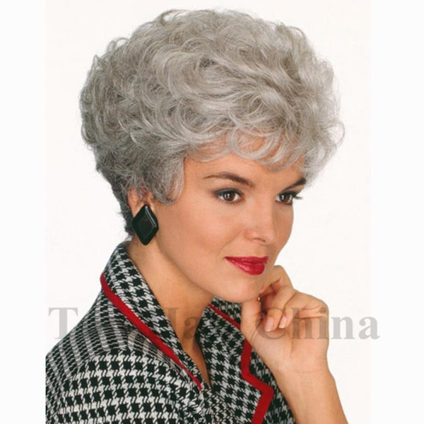 Top hair China Fashion Short Silver Grey Afro Wig Curly Peruca Synthetic Wigs Natural Hair for Old Women None Lace Hairstyle In Stock